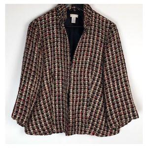 Chicos Tweed Red Wool Blends Career Jacket Coat